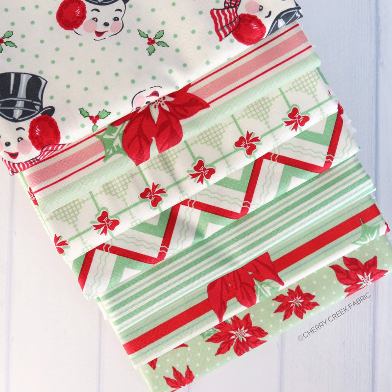 Sweet Christmas Green Fat Quarter Bundle - 7 pieces