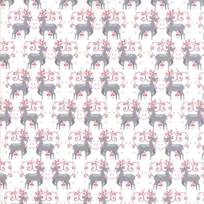 White Oh Deer Fabric from Sno Collection at Cherry Creek Fabric