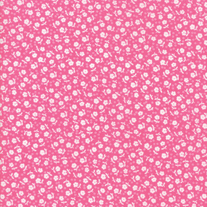 Dark Pink Floral Dots Fabric