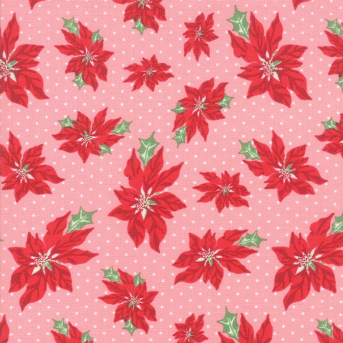 Sweet Christmas by Urban Chiks | Pink Poinsettia Fabric