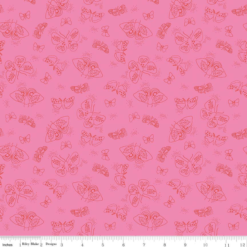 Pink Moths Fabric from Wild Bouquet Collection at Cherry Creek Fabric