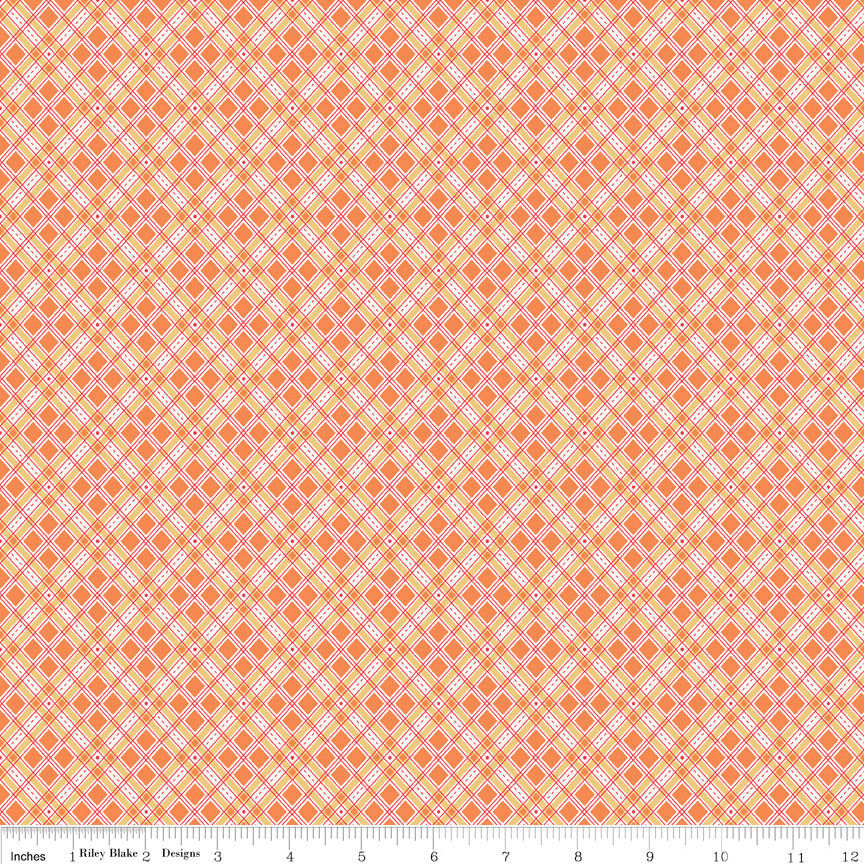 Orange Plaid Fabric from Autumn Love Collection at Cherry Creek Fabric