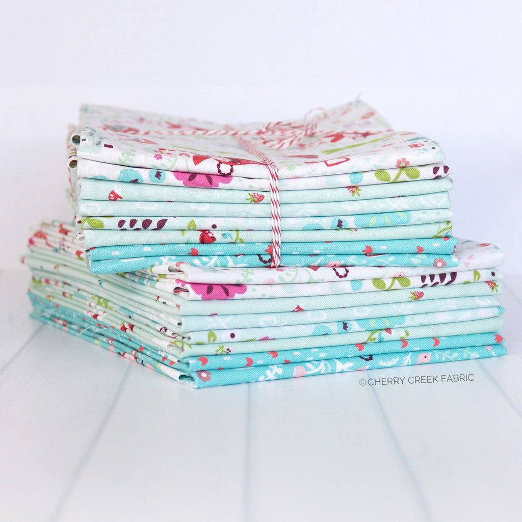Little Red in the Woods Aqua Half Yard Bundle - 8 pieces