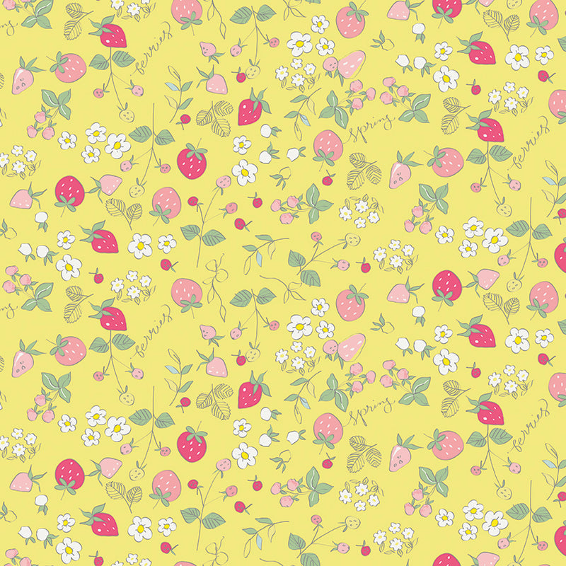 Yellow Strawberries Fabric