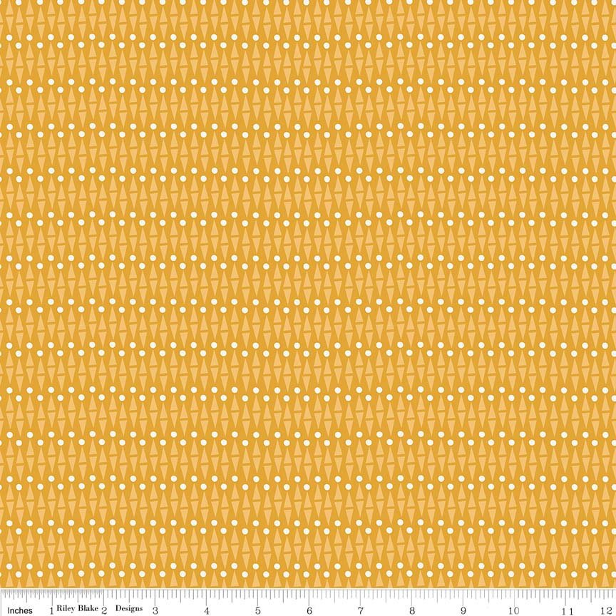 Mustard Geo Fabric from Lancelot Collection at Cherry Creek Fabric