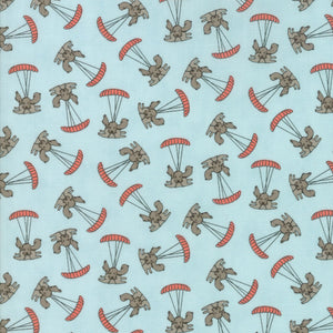 Aqua Parachuting Puppy Fabric from Mighty Machines Collection at Cherry Creek Fabric
