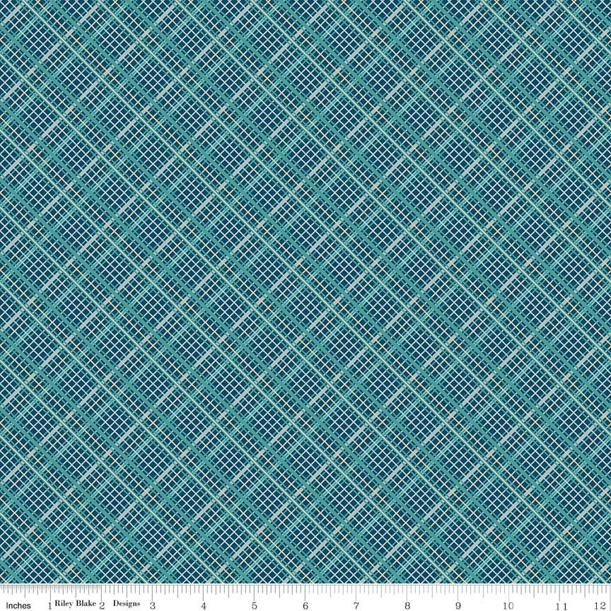 Teal Plaid Fabric