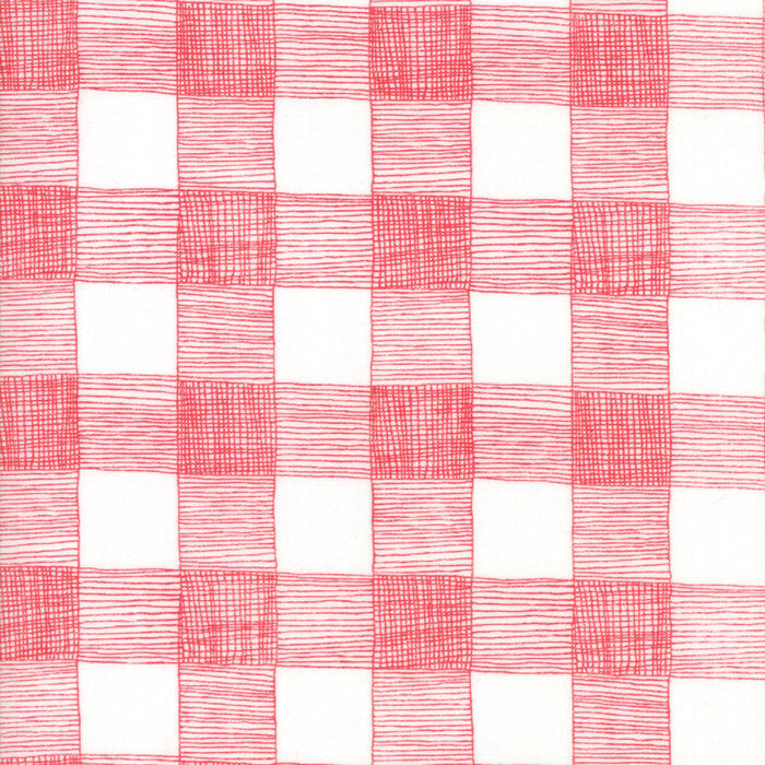 Red on White Rustic Gingham Fabric