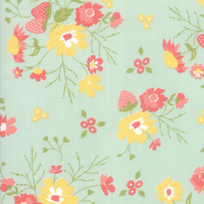 Aqua Floral Garden Fabric from Strawberry Jam Collection at Cherry Creek Fabric
