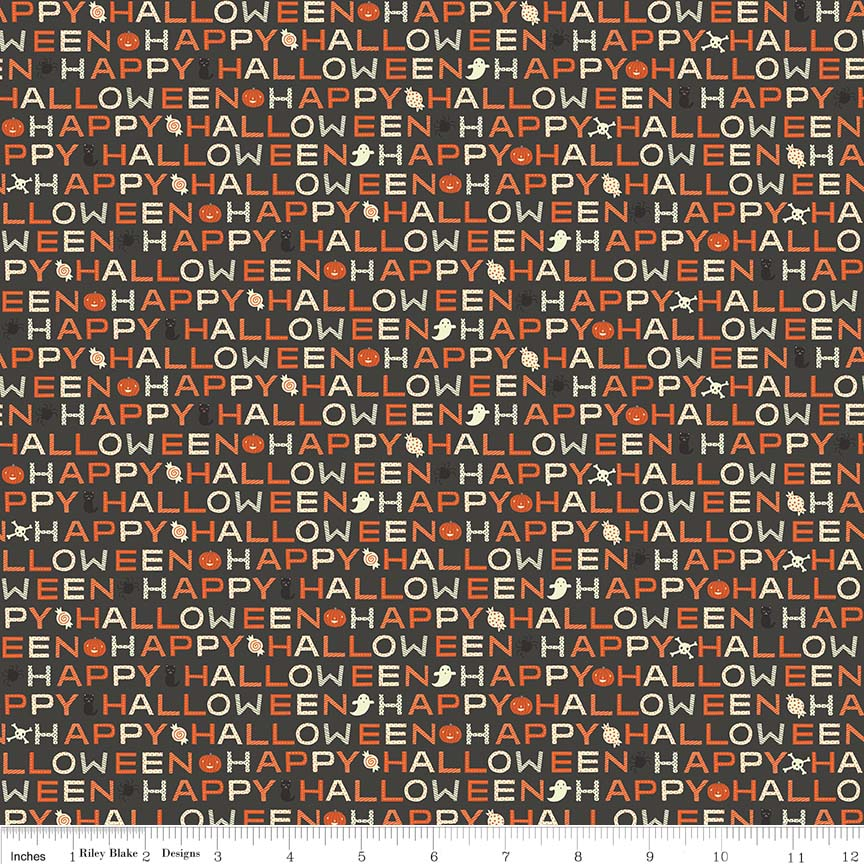 "Black Glow in the Dark Words FabricEND OF BOLT 1 yd + 18"" from Cats Bats & Jacks Collection at Cherry Creek Fabric"