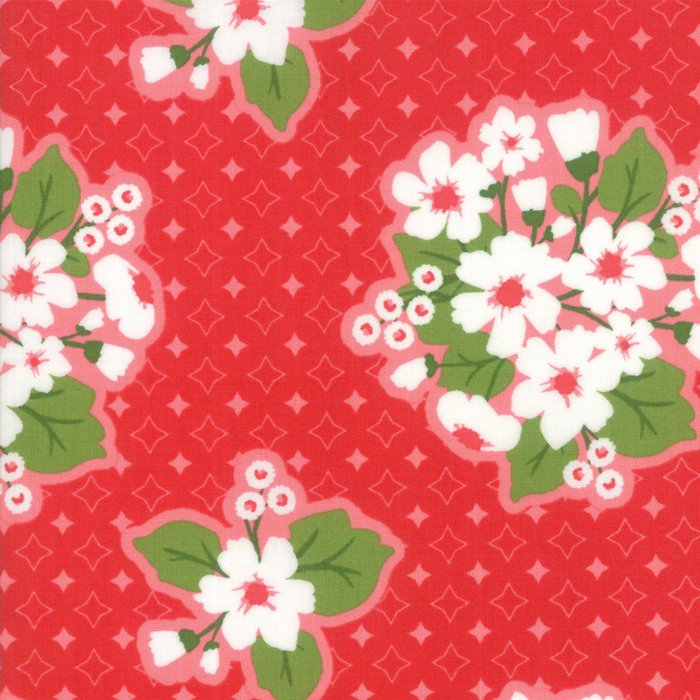 Red Last Blooms Fabric
