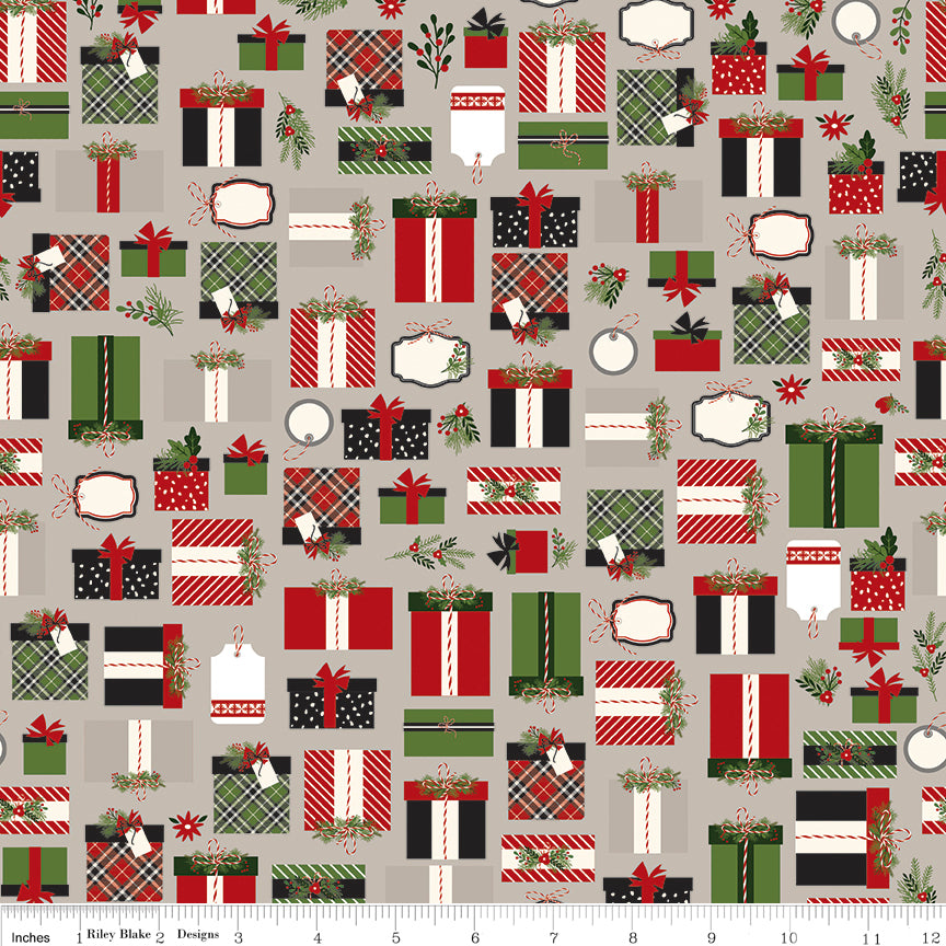 Gray Christmas Presents Fabric from Christmas Delivery Collection at Cherry Creek Fabric