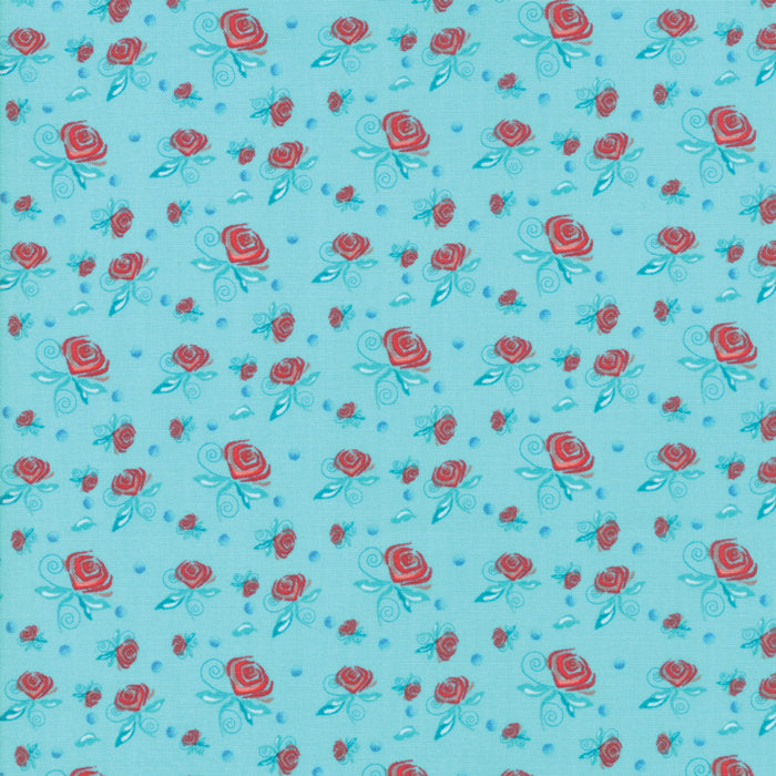 Turquoise Miniature Roses Fabric from Coledale Collection at Cherry Creek Fabric