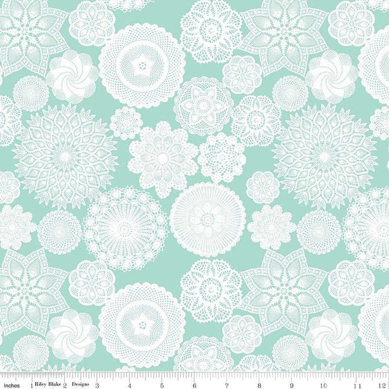 Aqua Doily Fabric from Vintage Keepsakes Collection at Cherry Creek Fabric