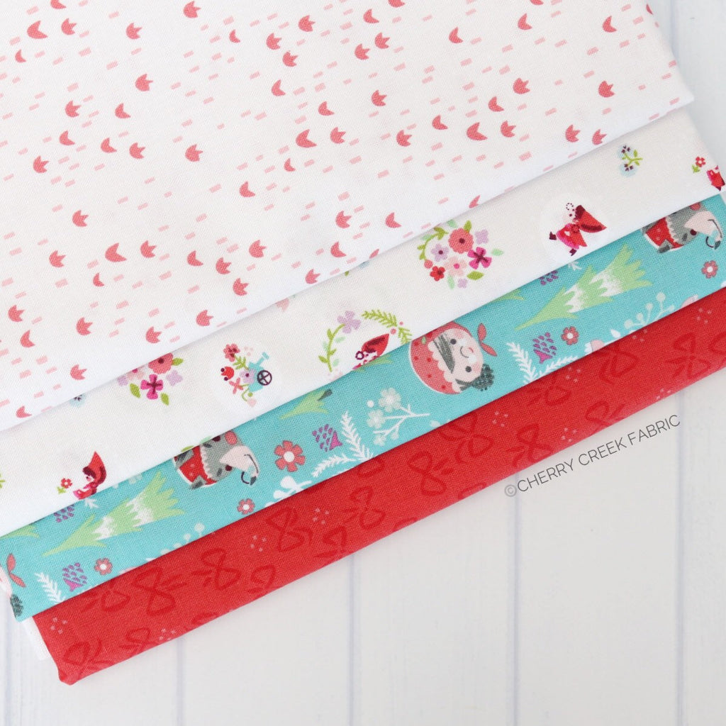 Little Red in the Woods Turquoise One Yard Bundle - 4 pieces