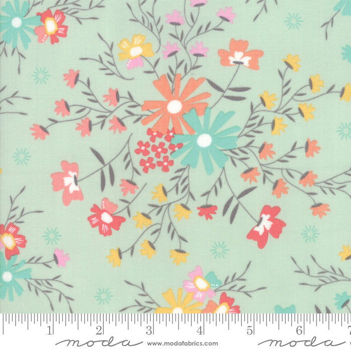 Aqua Sugar Creek Floral Fabric from Sunnyside Up Collection at Cherry Creek Fabric