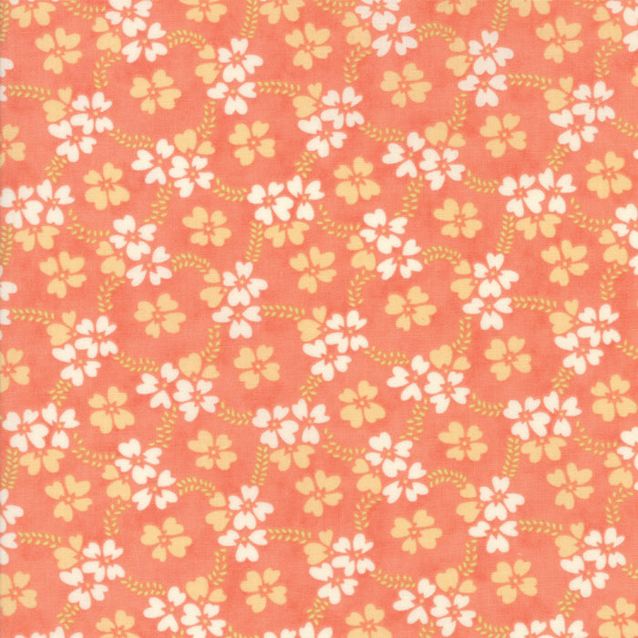 Peach Daisy Rings Fabric