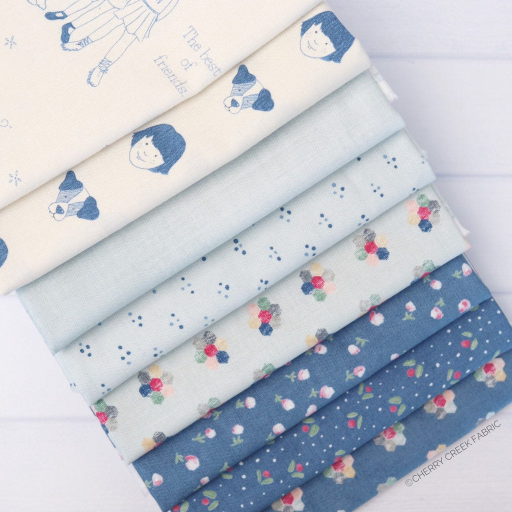 Freya & Friends Blue Half Yard Bundle - 8 pieces