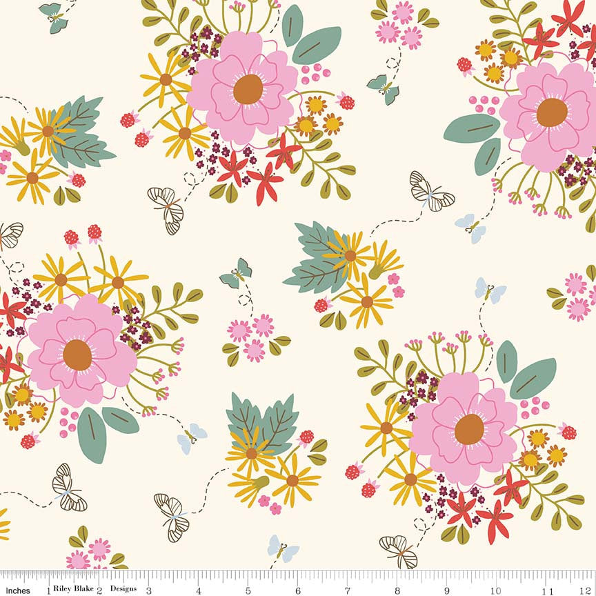 Cream Bouquet Fabric from Wild Bouquet Collection at Cherry Creek Fabric