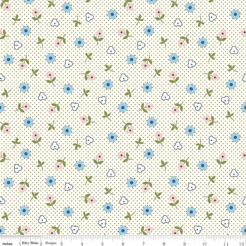 Gray Flower Toss Fabric