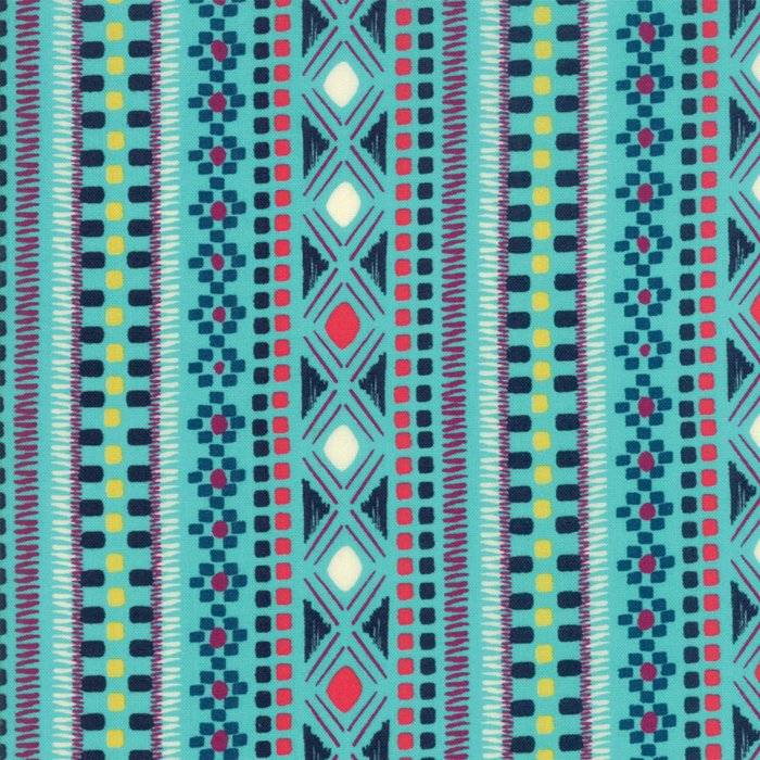 Aqua Geometric Stripe Fabric