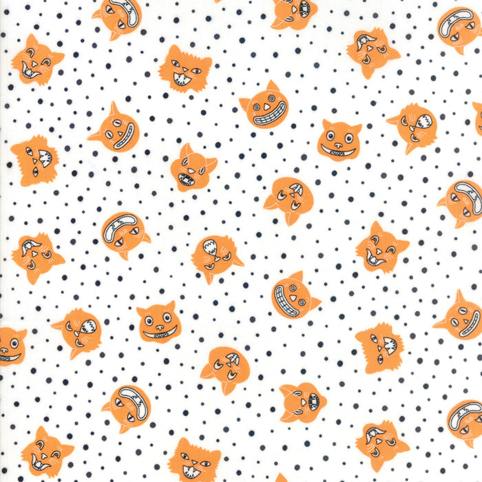 Orange Dotty Cat Fabric