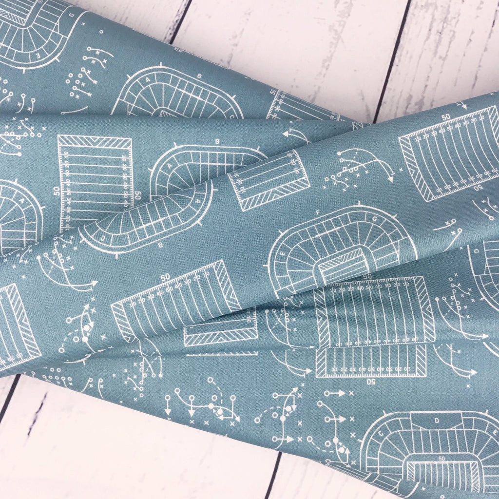 "END OF BOLT 1 yds + 18"" - Game Day Fabric - Teal Sports Plays Fabric - Lori Whitlock - Riley Blake Designs - Sports Fabric - Teal Fabric from Cherry Creek Fabric & Crafts Collection at Cherry Creek Fabric"