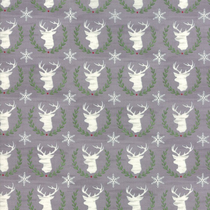 Grey Laurel Deer Fabric from Hearthside Holiday Collection at Cherry Creek Fabric
