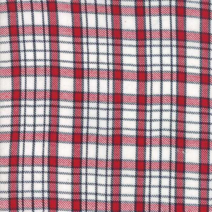 Denim Red Plaid Woven Fabric