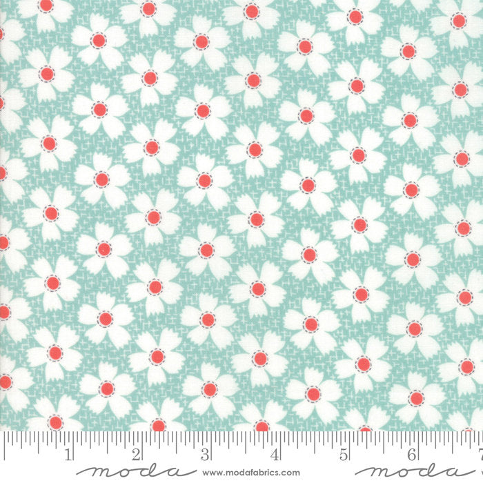 Aqua Gingham Daisies Fabric from Farmhouse II Collection at Cherry Creek Fabric