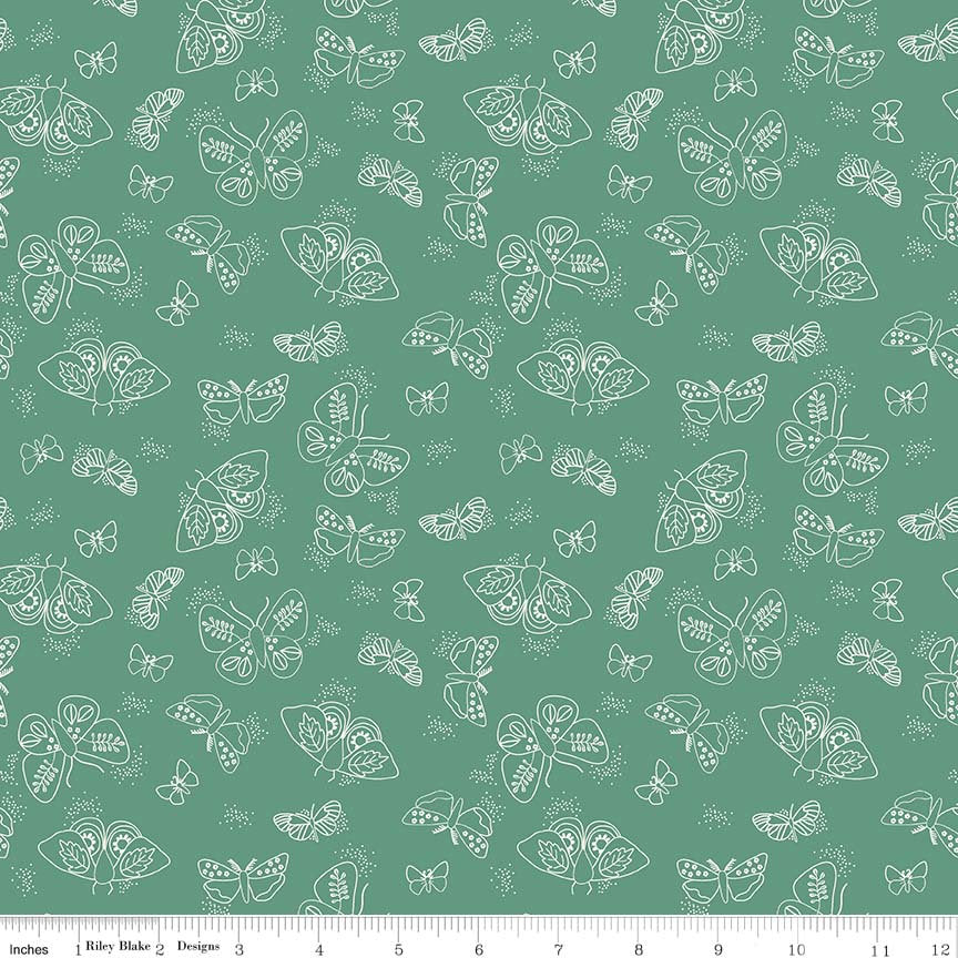 Green Moths Fabric from Wild Bouquet Collection at Cherry Creek Fabric