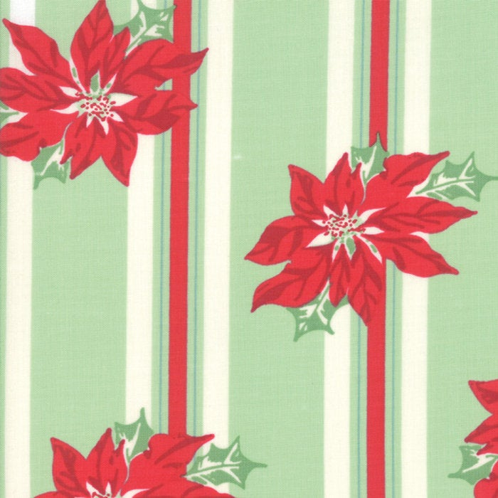 Sweet Christmas by Urban Chiks | Green Poinsettia Stripe Fabric