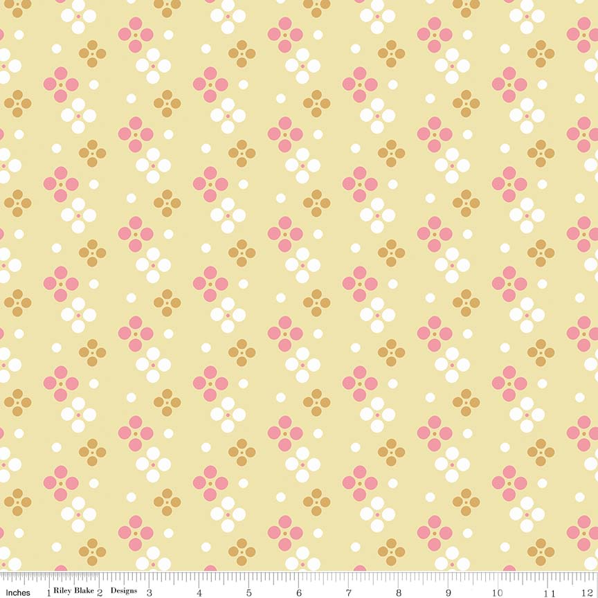 Yellow Meadow Spot Fabric from In the Meadow Collection at Cherry Creek Fabric