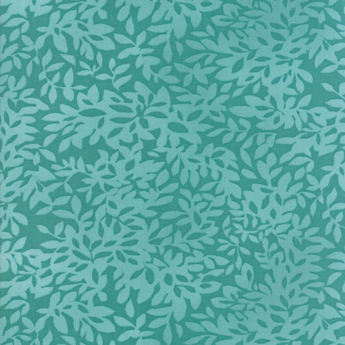 Teal Leaves Fabric from Dear Mum Collection at Cherry Creek Fabric