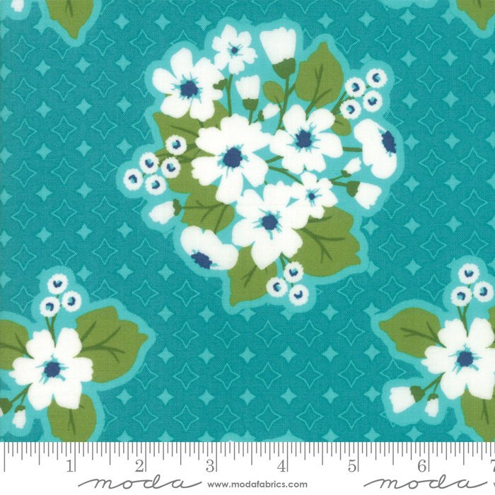 Turquoise Last Blooms Fabric from All Weather Friend Collection at Cherry Creek Fabric