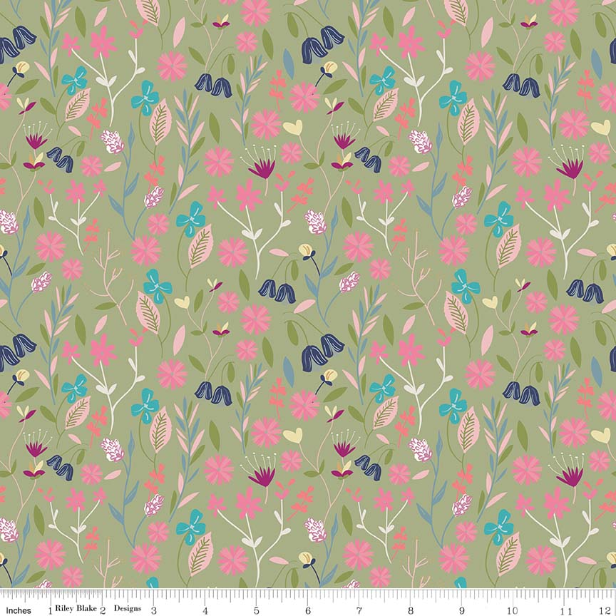 Green Flower Field Fabric from In the Meadow Collection at Cherry Creek Fabric