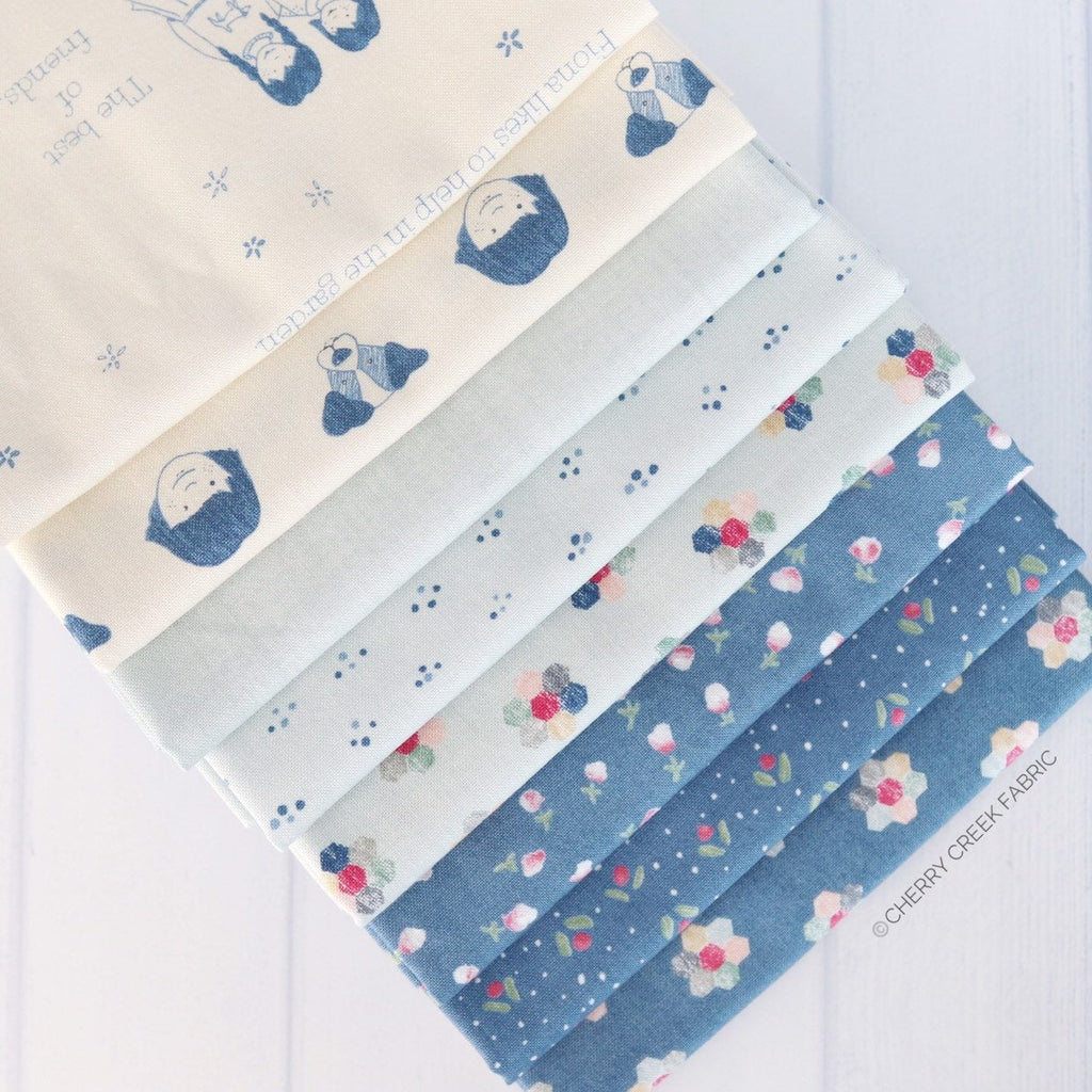 Freya & Friends Blue Fat Quarter Bundle - 8 pieces