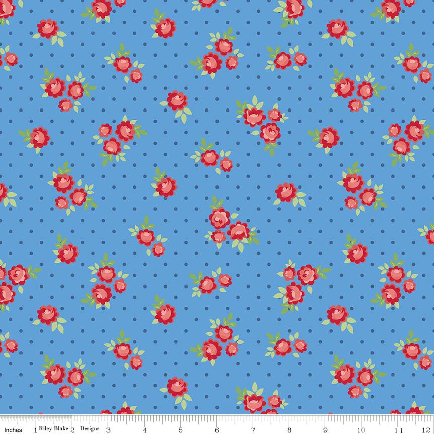 Blue Tiny Rose Fabric from Harry & Alice Collection at Cherry Creek Fabric