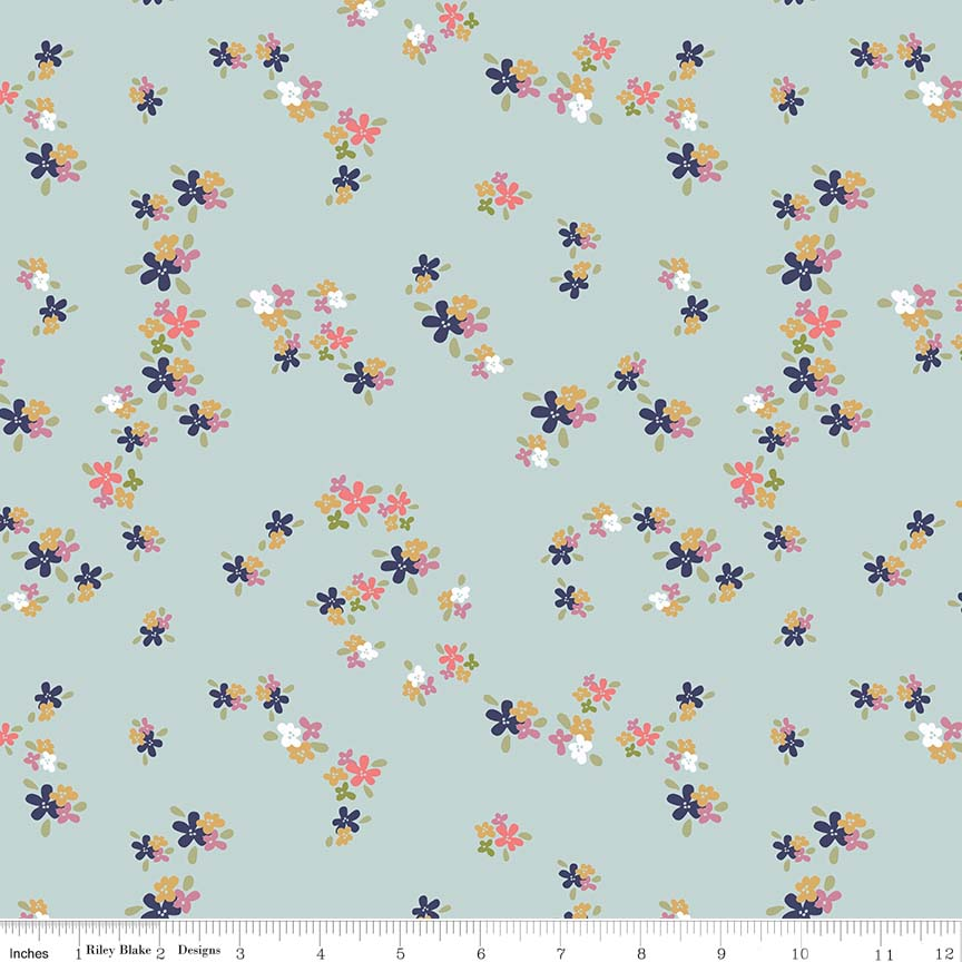 Blue Flower Patch Fabric