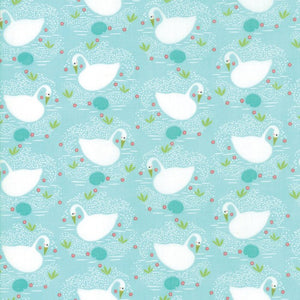 Aqua Swan Fabric from Enchanted Collection at Cherry Creek Fabric