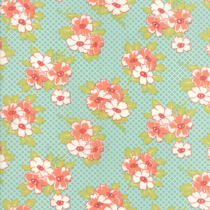 Aqua Basketweave Posies Fabric