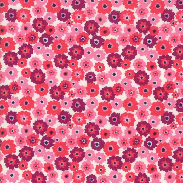 Pink on White Flower Tarts Fabric