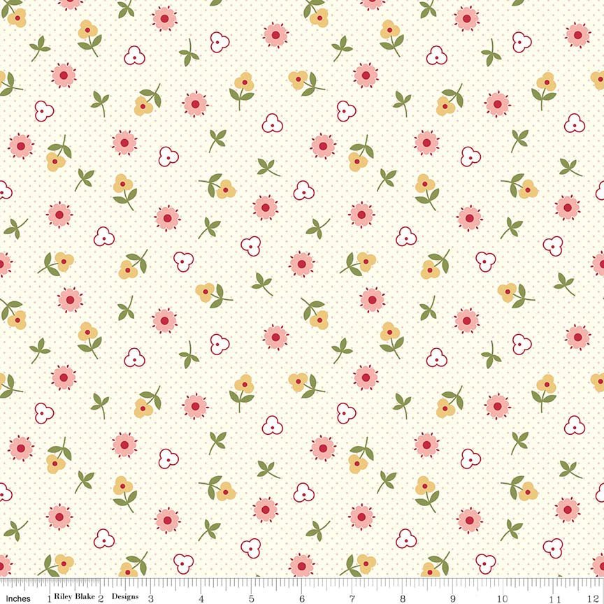 Pink Flower Toss Fabric