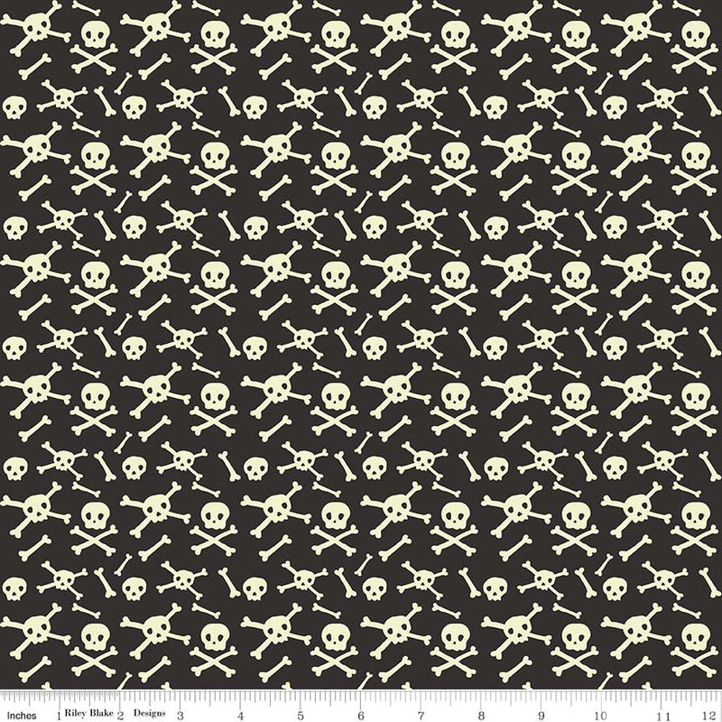 Black Glow in the Dark Skulls Fabric from Cats Bats & Jacks Collection at Cherry Creek Fabric