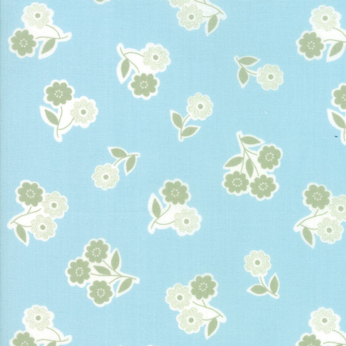 Light Blue Handpicked Bouquet Fabric
