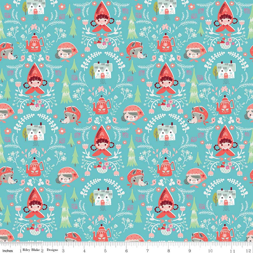Teal Little Red Damask Fabric