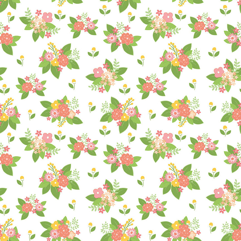 White Adventure Floral Fabric from Vintage Adventure Collection at Cherry Creek Fabric