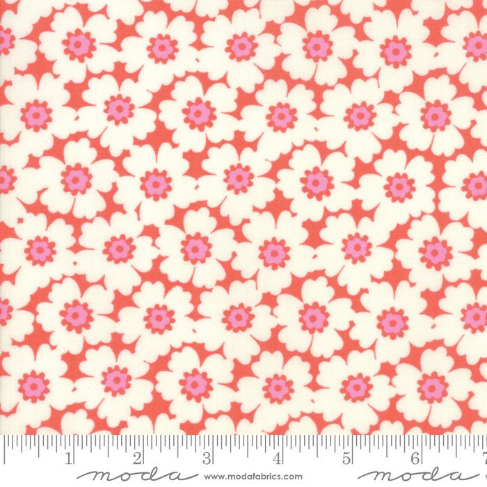 Orange Floral Cosmos Fabric from Lazy Days Collection at Cherry Creek Fabric