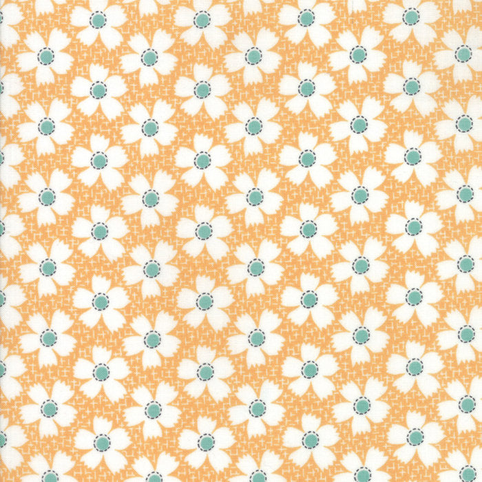 Orange Gingham Daisies Fabric