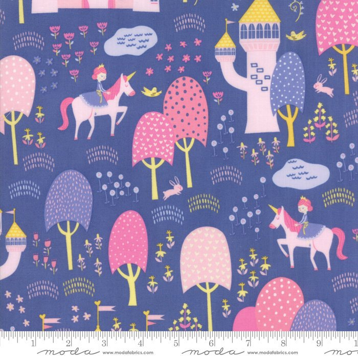 "END OF BOLT 2 yds + 34"" - Periwinkle Palace Grounds Fabric from Once Upon a Time Collection at Cherry Creek Fabric"